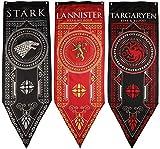 3-Pack Game of Thrones House Banner, House Stark, Targaryen, Lannister