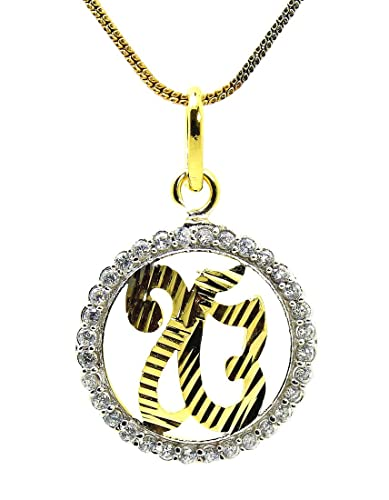 Buy ik onkar cz gold plated pendant with chain by beyou online ik onkar cz gold plated pendant with chain by beyou aloadofball Images