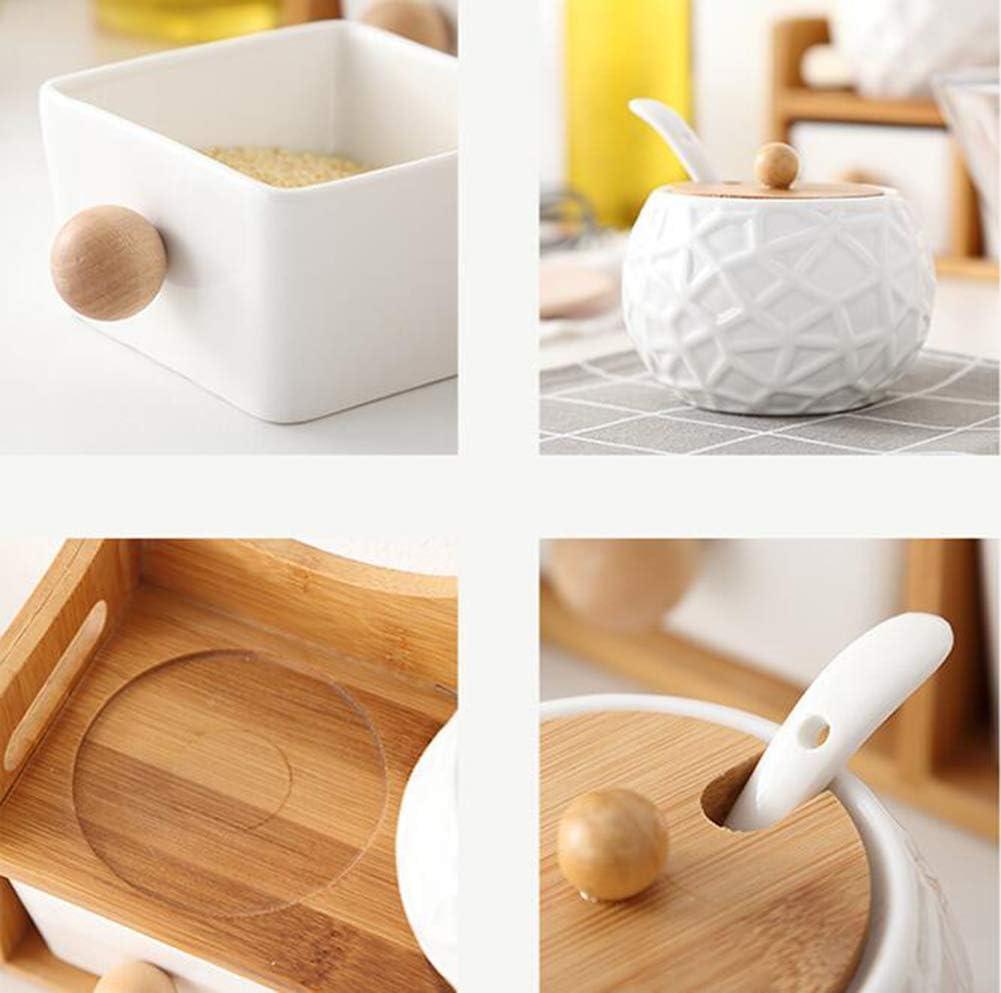 salero y pimentero estilo japon/és con tapa LGDD Azucarero de madera maciza herramientas de cocina