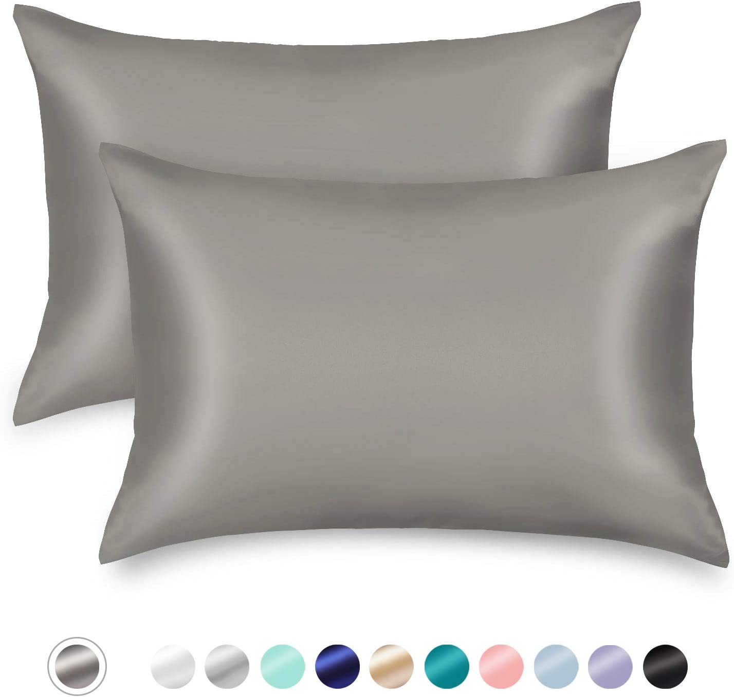 ZAMAT Silky Satin Pillowcases Set of 2, Luxury Soft Pillow Case for Hair and Skin, Wrinkle, Fade Resistant, Cooling Pillow Cover with Envelope Closure (Dark Grey, Queen)