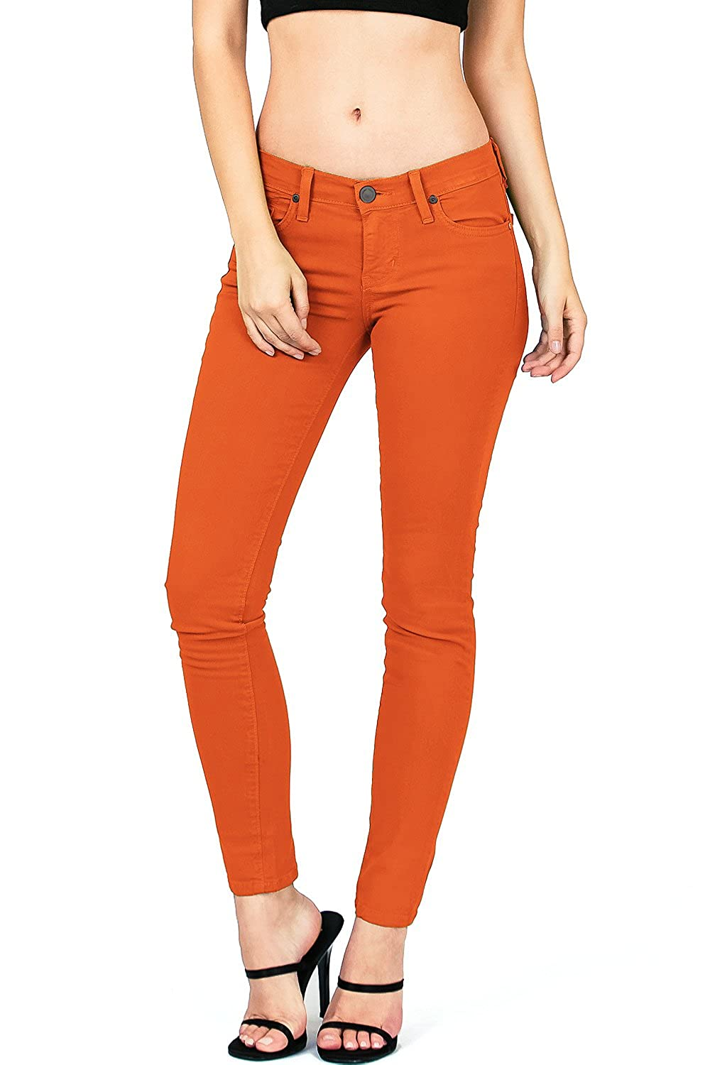 orange Angry Rabbit by Pink Ice Women's Juniors Mid Waist Skinny colord Jeans