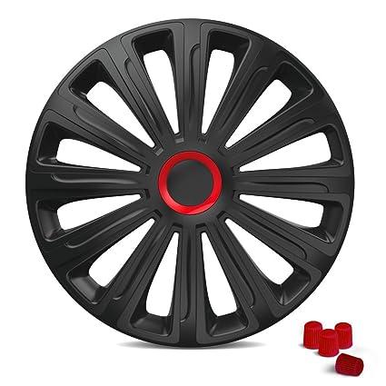 Tapacubos Tapacubos Trend (Negro de color rojo) incl. 4 Tapones de ...