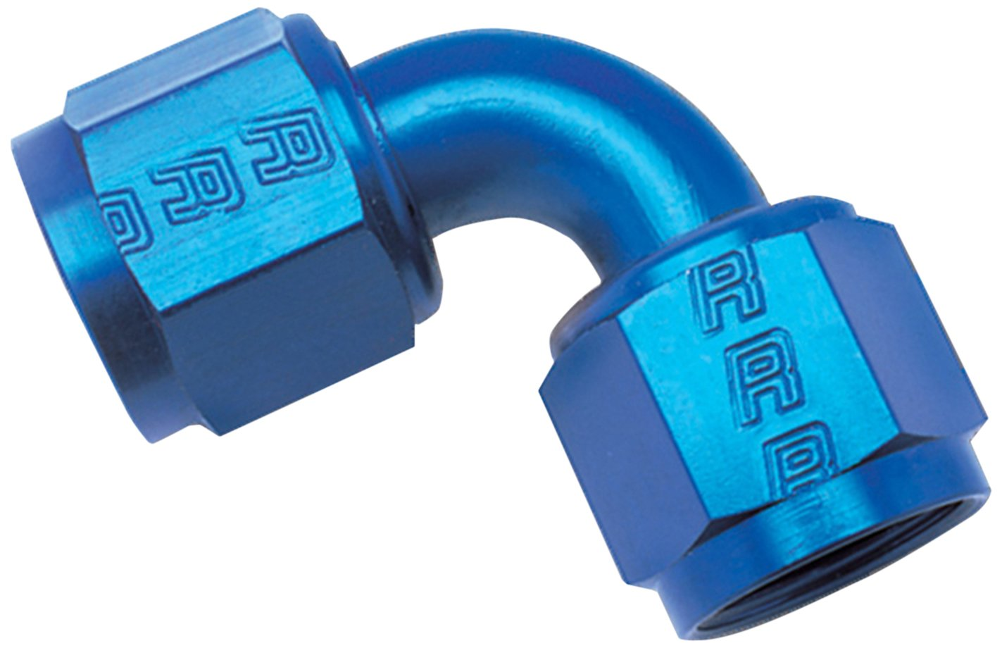 8AN 90-Degree Swivel Coupler Russell 640170 Blue Anodized Aluminum