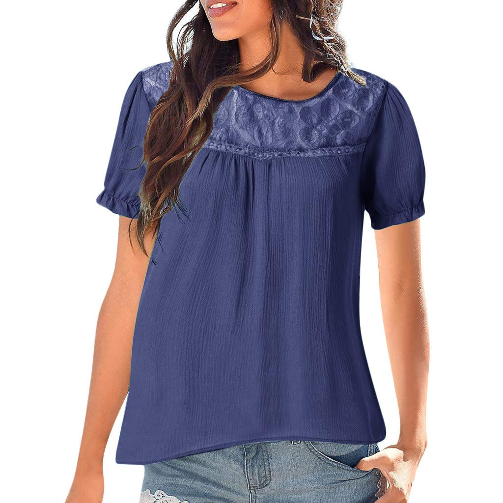 TOTOD Women Wild Classic Lace Patchwork Tops Casual O-Neck Short Sleeve Loose Blouse Navy