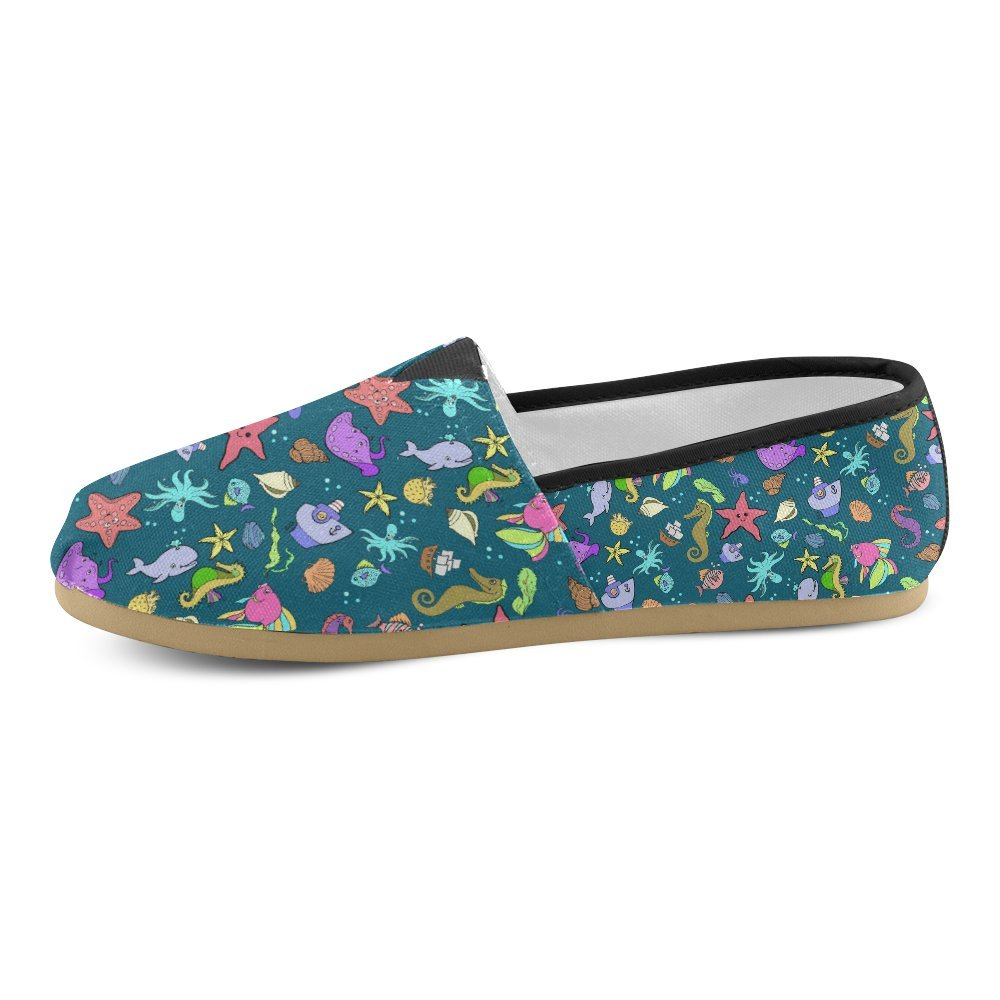 D-Story Fashion Sneakers Flats Undersea World Womens Classic Slip-on Canvas Shoes Loafers
