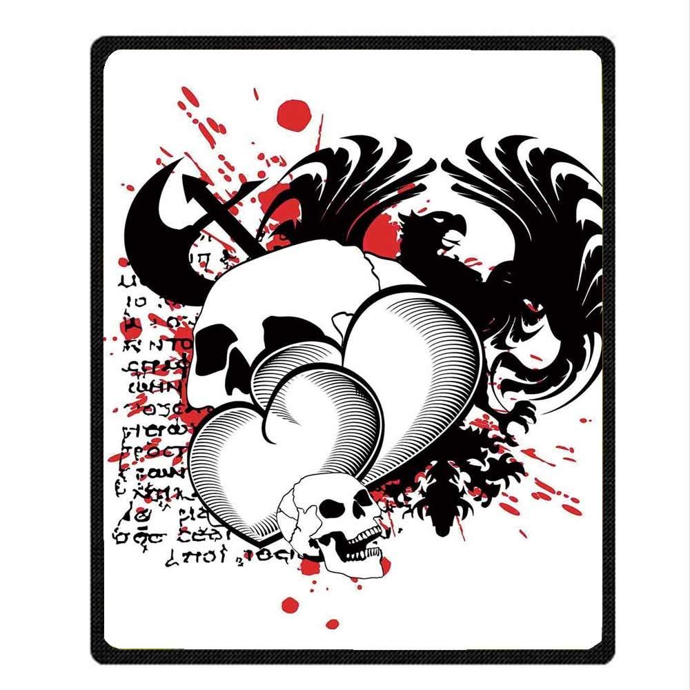 YOLIYANA Tattoo Decor Vivid Blanket,The Majestic Creature Head of a Wild Wolf Tribal Tattoo Design Art Print for Indoor,49.21'' W x 59.06'' H