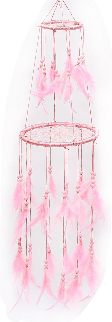Probeauty Blush Pink Floral Dream Catcher Mobile Blush Pink Flowers Pink Nursery Mobile Crib Mobile Cot Mobile Feather Mobile Boho Dream Catcher Boho