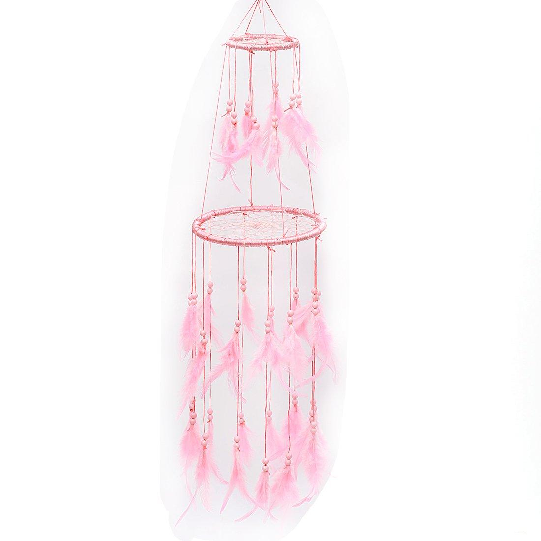 Probeauty Blush Pink Floral Dream Catcher Mobile Blush Pink Flowers - Nursery Mobile Crib Mobile Cot Mobile Feather Mobile Boho Dream Catcher Boho (Pink)