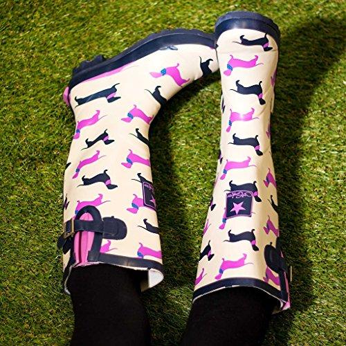 Spylovebuy Igloo Da Donna Fibbia Regolabile Stivali Da Pioggia Flat Welly Cani Gialli