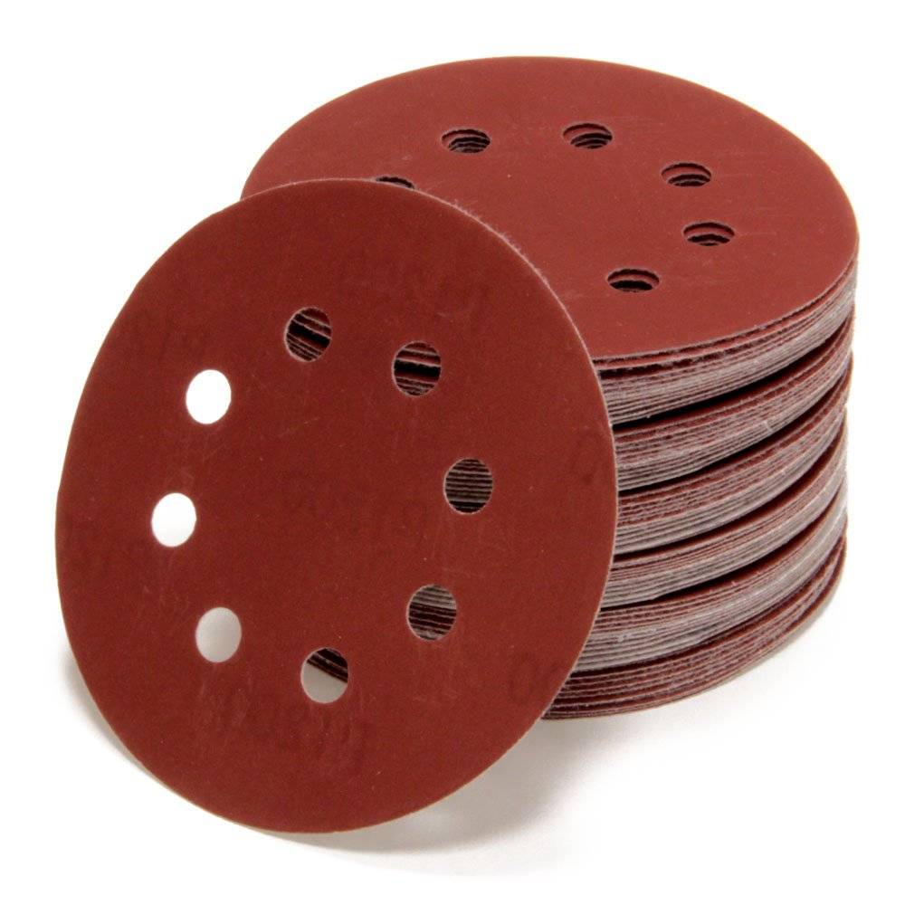 10  Random Orbit Sanding Discs Diameter 125  mm 8  hole P40  Grit P1200  | Red | for Optimal Bows, Universal Use | Velcro Sanding Paper Adhesive Woltersberger
