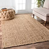 nuLOOM Handwoven Jute Ribbed Solid Area Rugs, 4' x 6', Natural