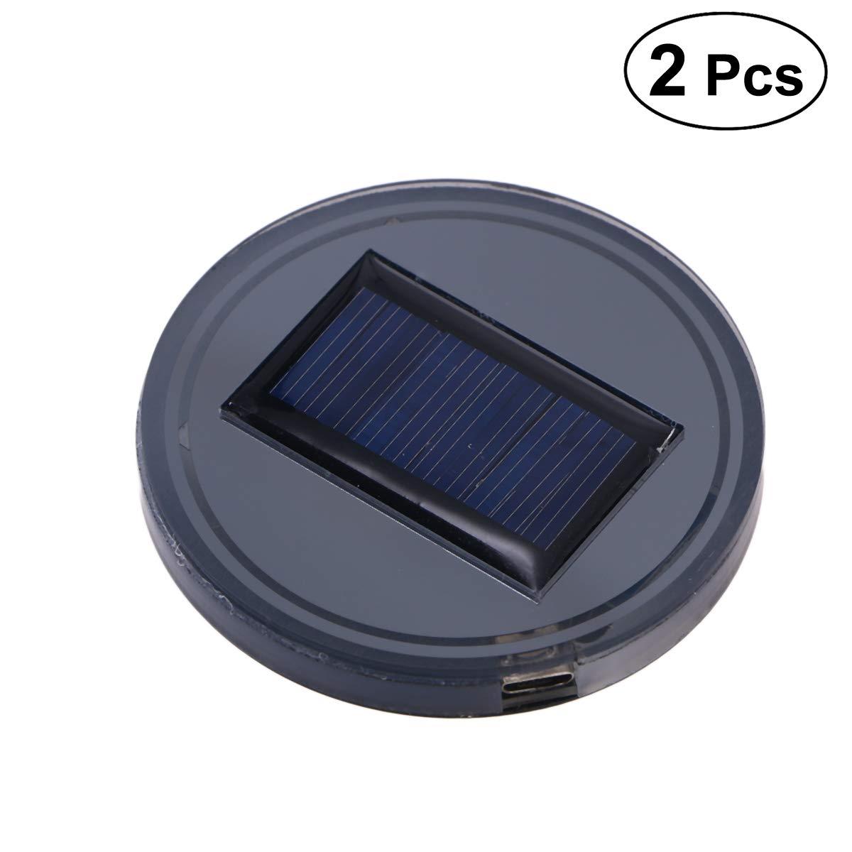 Vosarea 2pcs Solar Led Cup Holder Lights for Car with USB