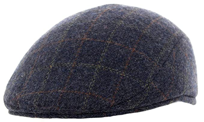 77a933e8 Heritage Traditions Tweed Ear Flap Mens Flat Cap Hat (Blue): Amazon.co.uk:  Clothing