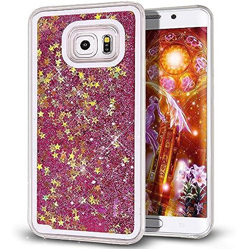 Galaxy S7 Edge Case,S7 Edge Case,NSSTAR Galaxy S7 Edge [Liquid][Glitter] Case,Creative Design Flowing Liquid Floating Bling Glitter Sparkle Stars Clear Sales