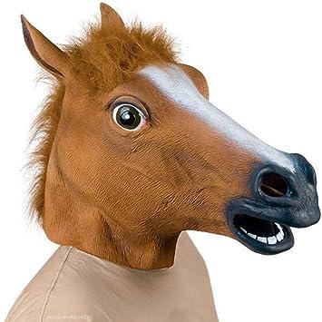 Máscara de Látex, Supmaker Brown Animal Cabeza de Caballo para Super Creepy Halloween Fiesta Disfraz