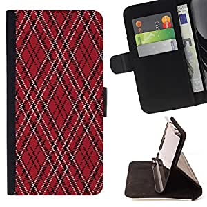 King Case - FOR Samsung Galaxy S4 Mini i9190 - Black and white red grid - Prima caja de la PU billetera de cuero con ranuras para tarjetas, efectivo Compartimiento desmontable y correa para la mu?eca