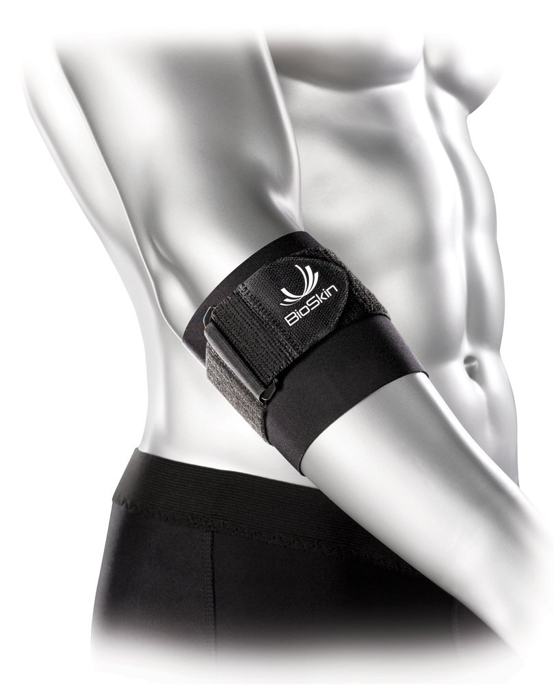 Hypoallergenic Elbow Band with Compression Pad and Supportive Strap for Pain Relief from Tennis Elbow and Golfer's Elbow - By BioSkin (Large) by BioSkin
