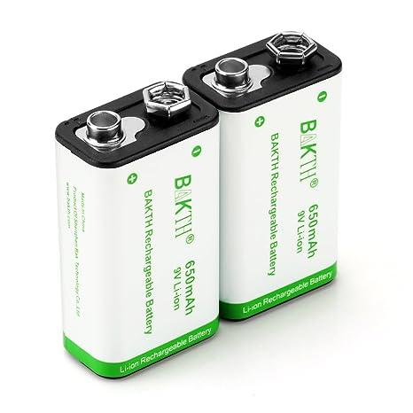 c888f4ebb88 BAKTH Batterie 9 Volt avanzata agli ioni di litio 650mAh 9V ad alta  capacità bassa auto