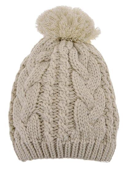 fb7db5889306d Veenajo Men   Women Winter Hand Knit Faux Fur Pompoms Slouchy Beanie Hat  (Beige) at Amazon Men s Clothing store