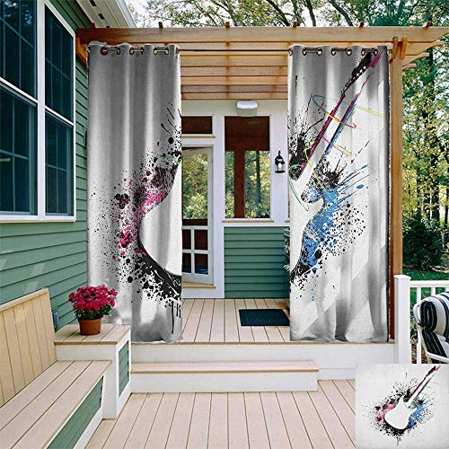leinuoyi Guitar, Outdoor Curtain Grommet, Abstract Silhouette of Musical Instrument with Grungy Color Splashes Creating Melody, for Patio W108 x L108 Inch Multicolor ()