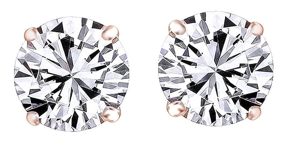 Black Cubic Zirconia Stud Earrings In 14k Rose Gold Over Sterling Silver