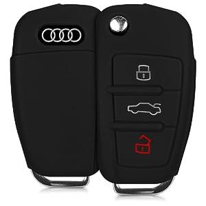 kwmobile Housse en silicone pour Audi clé pliante 3-touches housse étui de protection clés Key Case Cover en noir