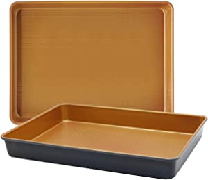 LUCYCAZ 15''x11''x2'' Rectangle Copper Baking Cake Pans Cookie Sheets Tray Bakeware Toaster Oven Nonstick Set for Commercial or Christmas Home Kitchen Use Muffin Bread Pan Non Toxic, 2-Piece, Brown
