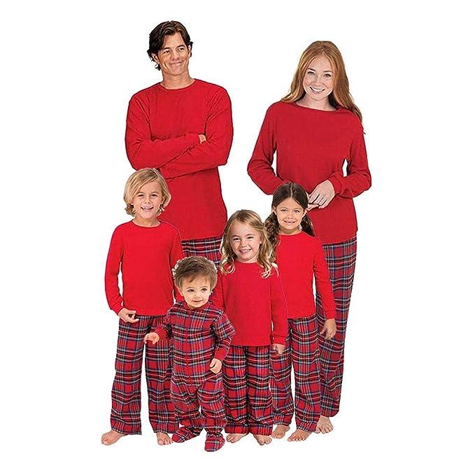 Hzjundasi Christmas Family Matching Long Sleeve Blouse and Plaid Long Pants Pajamas  Set - Xmas PJs a0edcf728