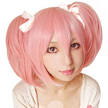 Amazon.com  Free Hair Cap + Puella Magi Madoka Magica Madoka Puffy Pink Cosplay  Wig + Two Ponytails by Anangel  Beauty 6f5b3d0feeee