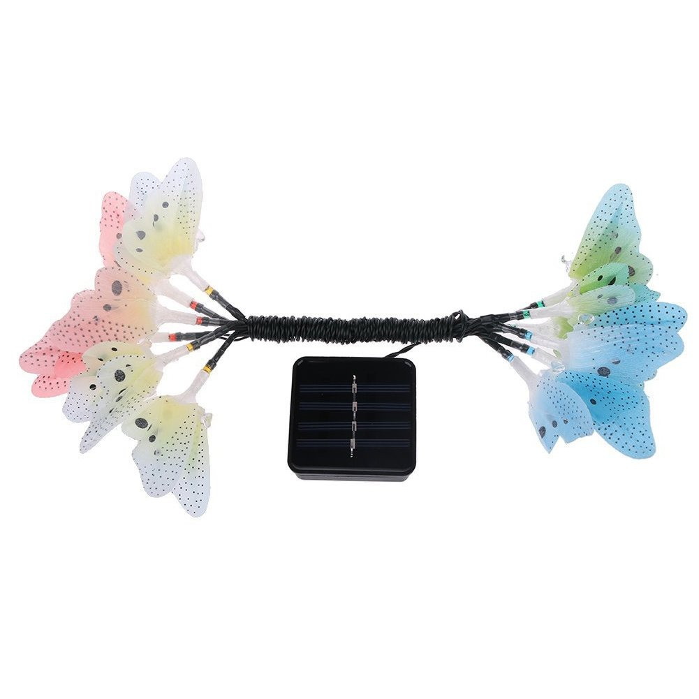 YOTHG Solar Power String Lights 12 LED Animal Design,12 Led Solar Powered Butterfly Fiber Optic Fairy String Outdoor Garden Lights