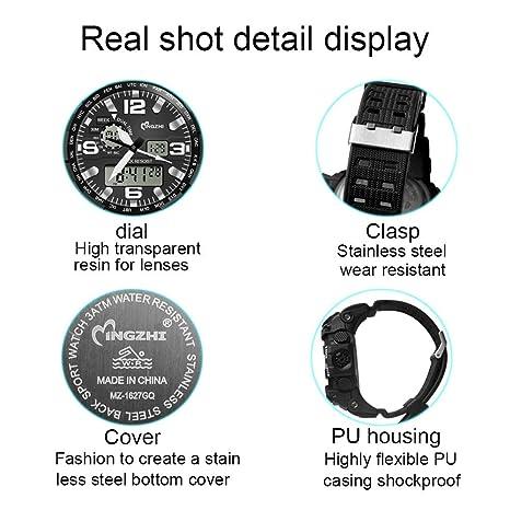 Tellunow Reloj Deportivo con visualización de Hora Dual Reloj de Hombre Reloj cronógrafo Digital LED 50 m Reloj de Hombre Impermeable Reloj Masculino de ...