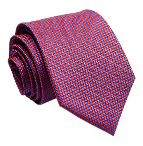 Men's Cardinal Red Blue Party Woven Tie Slim Summer Banquet Formal Prom Necktie