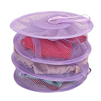 11b0551dcfc Amazon.com   HuaYang Hanging Mesh Bra Underwear Socks Storage Net 3 Shelf  Tier Semi-closed Organizer Purple   Baby