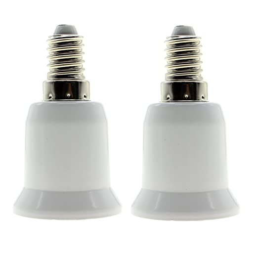 Socket de 2 unidades) lámpara LED de la bombilla adaptador de casquillo E14 a E27 Socket de portalámparas Proyección adaptador alargador conversor ...