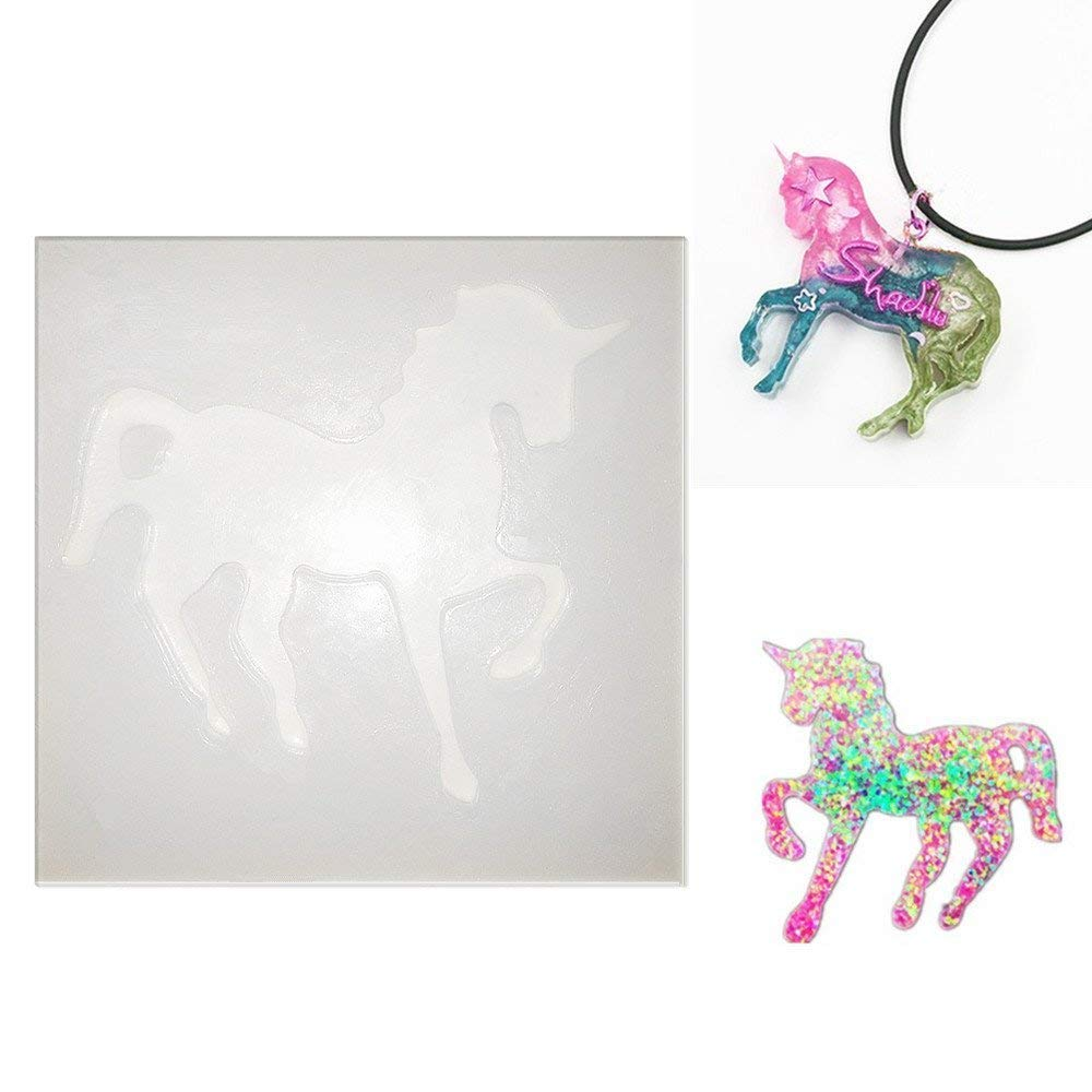 Unicorn-Shaped Silicone Jewelry Molds, Pendant Mold with Hanging Hole for Resin Epoxy,Earring Necklace Making and DIY Jewelry Craft Making,Semi-Transparent ZHONGYI