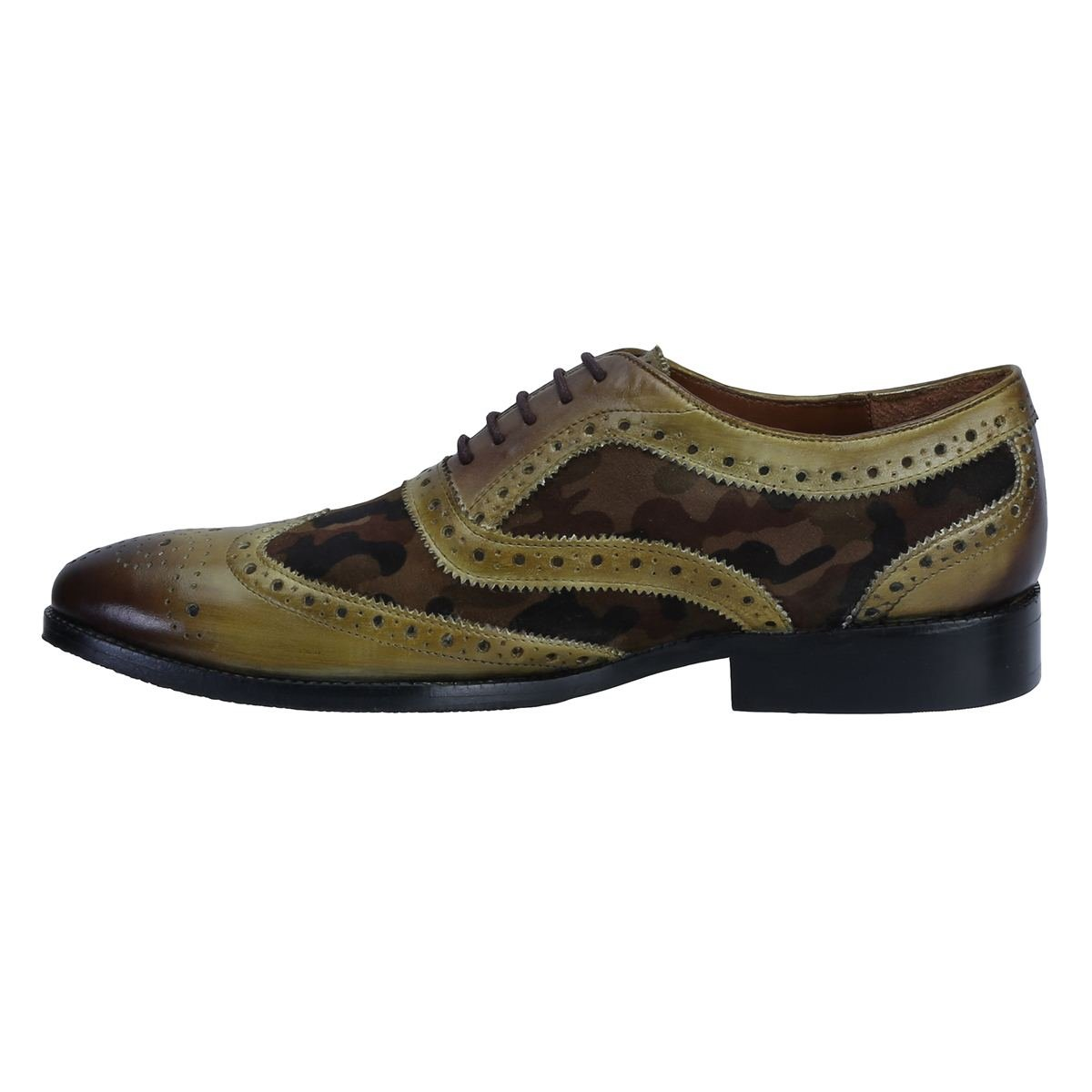 9083ff3bffbd Olive Green Hand Finished Leather Brogue Formal Shoe With Camoflauge Velvet  For Men By BRUNE Hand made leather shoe Designer Leather Shoe Hand Finished  ...