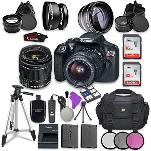(Canon EOS Rebel T6 DSLR Camera with Canon EF-S 18-55mm f/3.5-5.6 is II Lens + Sandisk 16GB & 32GB Class 10 SD Memory Cards +Accessory Bundle)
