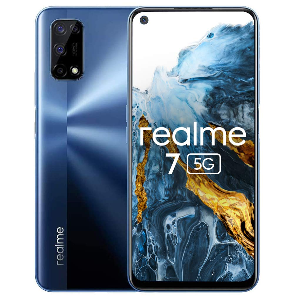 realme 7 5G Mobile Phone, 6.5 Inch 120Hz Simfree Unlocked Android Smartphone with Quad Camera 48MP, 5000mAh Battery with 30W Fast Dart Charge, 6+128GB, Baltic Blue, Dual Sim, NFC, UK Plug
