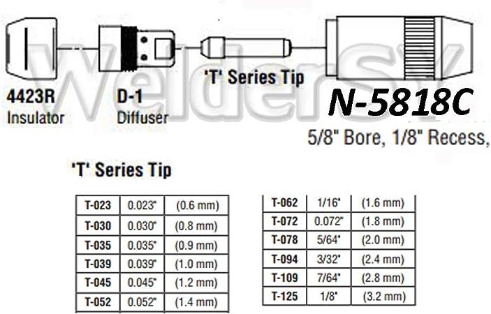 WS PK-2 Ref N-5818C Outside Nozzle Dia 5//8 Recess 1//8 for MIG//MIG Welding Bernard CenterFire Torch