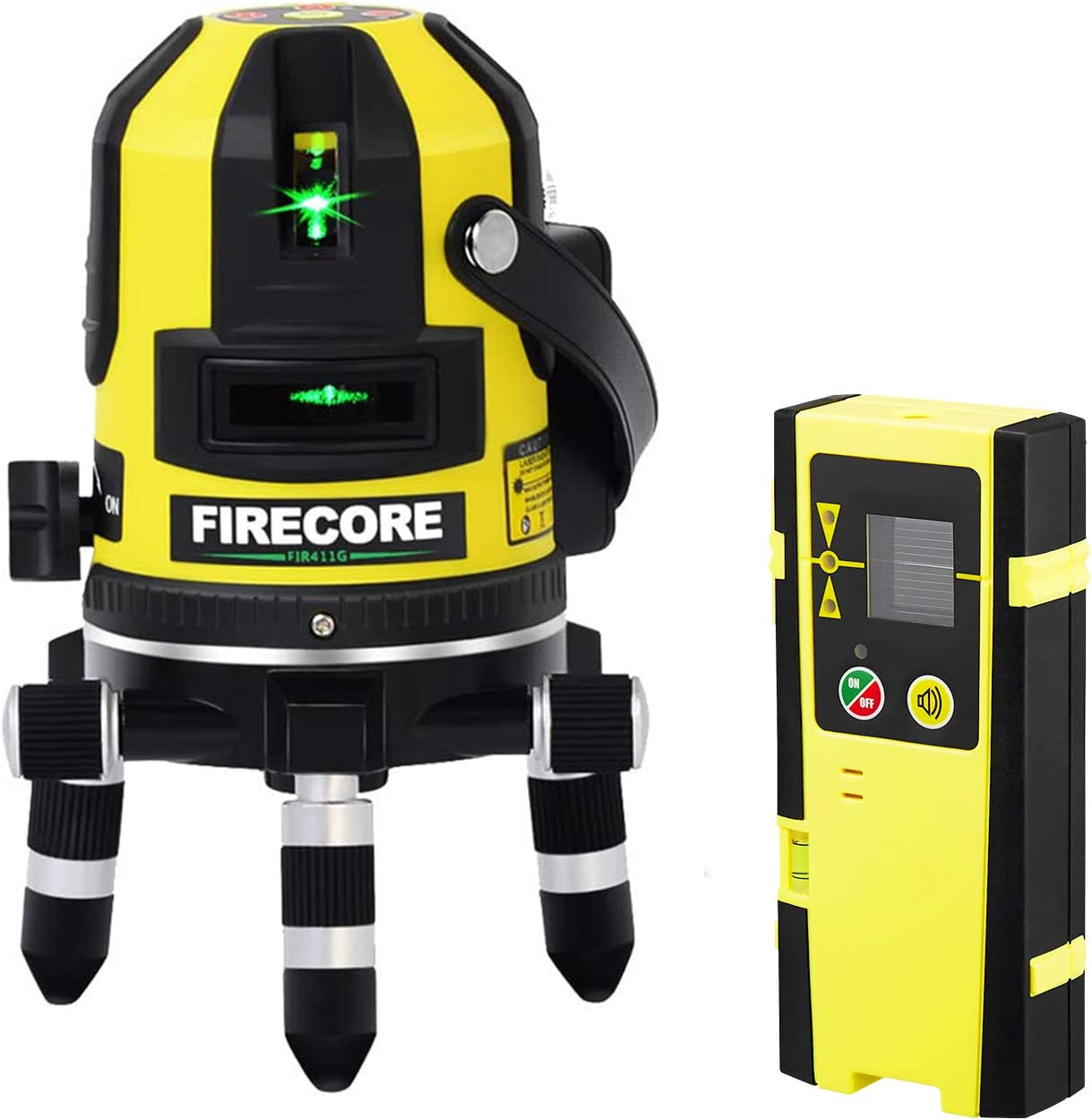 Firecore FIR411G Self-Leveling 50m Outdoor 5 Line Laser Level and Plumb Point with Detector, Green