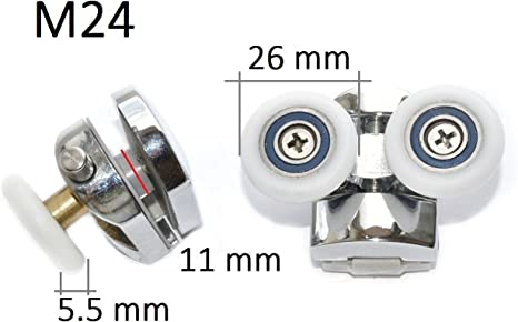 4 x Rodillos Rodamientos Para Cabina De Ducha Type M24 26mm: Amazon.es: Electrónica