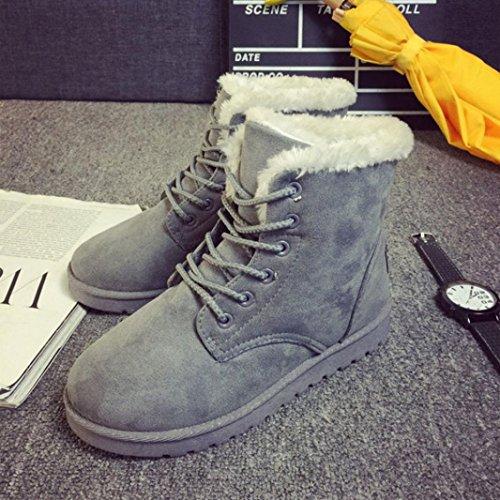 Botas Mujer,Ouneed ® Forme a mujeres las botas de la nieve la piel plana del tobillo alineó los zapatos calientes Gris