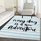 Adventure Rugs for Bedroom Every Day is a New Adventure Quote Inspirational Things About Life Artwork Circle Rugs for Living Room 4'x6' Baby Blue Black