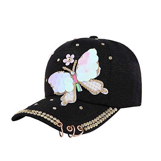 86a98b400 CSSD Women's Baseball Hats Rhinestone Butterfly Decoration Adjustable Caps