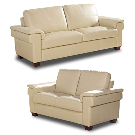 Merton 3+2 Seater Cream Leather Sofas Suite