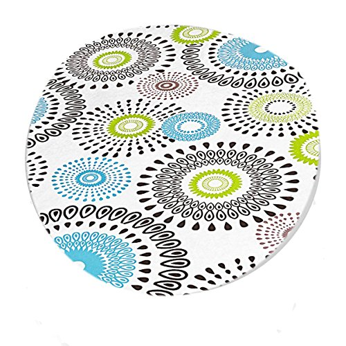 Whimsy Circle Contemporary Print Indoor/Outdoor Vinyl Flannel Backed Fitted Tablecloth - Fits Table To 42 Inch Round by Home Bargains Plus