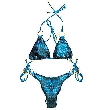 c85e88ab1d YAOSEN Women Sexy Sequin Triangle Bikini Set 2 Piece Halter Golden Ring  Glitter Beachwear (Blue
