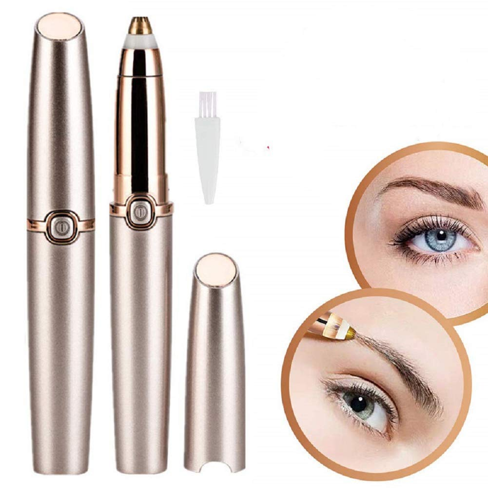 Eyebrow Hair Remover for Women, Electric Eyebrow Trimmer Epilator for Face Lips Nose Facial Hair Remove Painless Eyebrow Razor with Light
