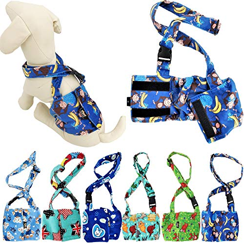 FunnyDogClothes Dog Diaper for Male Boy Belly Band Reusable Washable with Suspenders Soft Fleece (S: Waist 10