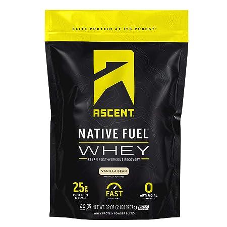 Ascent Native Fuel Whey Protein Powder – Vanilla Bean – 2 lbs